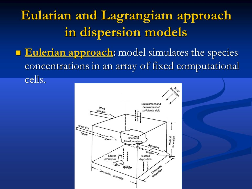 Eularian and Lagrangiam approach in dispersion models