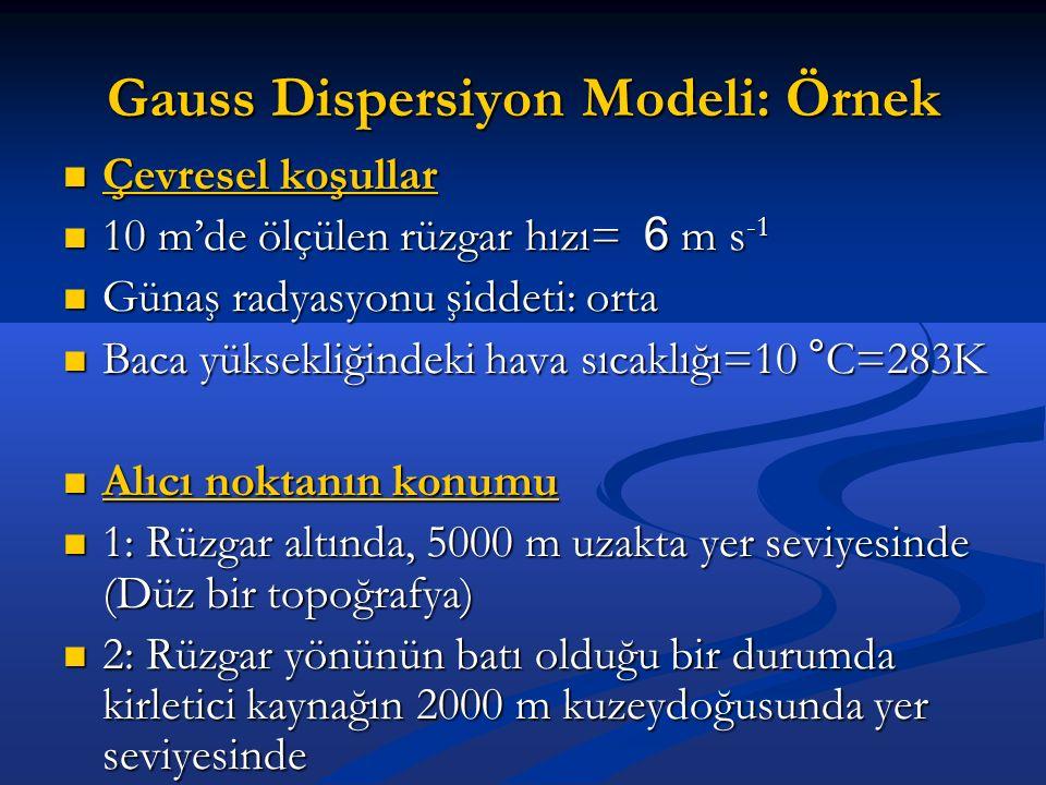 Gauss Dispersiyon Modeli: Örnek
