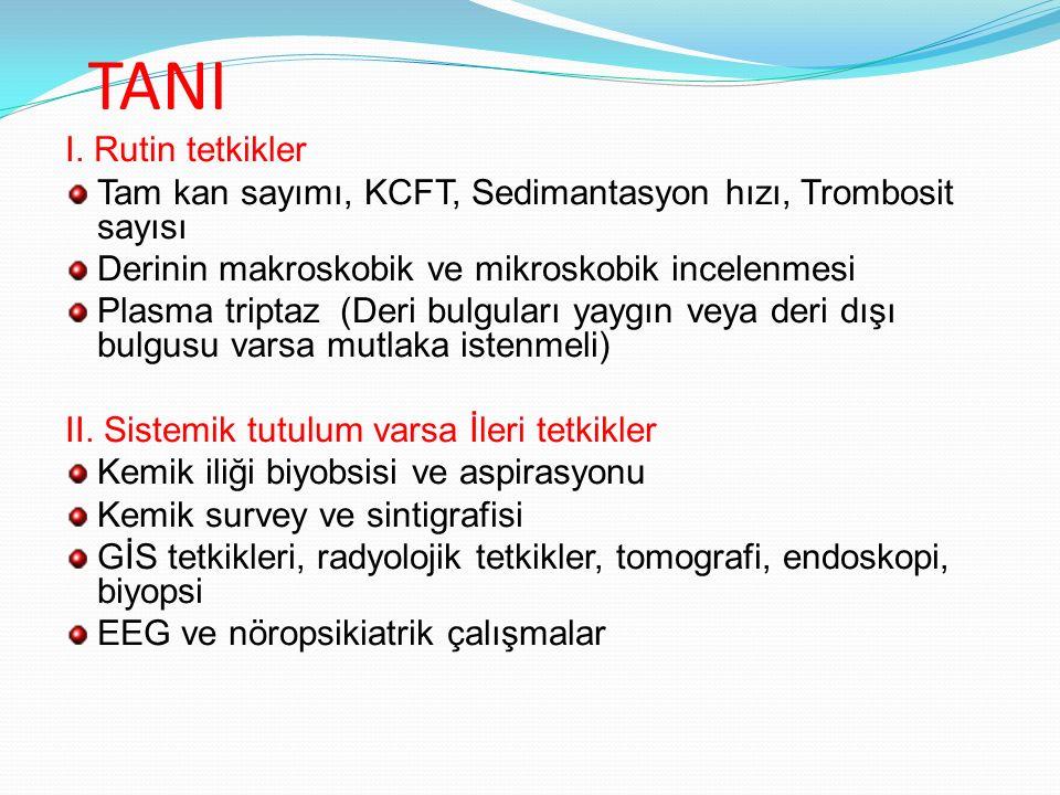 TANI I. Rutin tetkikler. Tam kan sayımı, KCFT, Sedimantasyon hızı, Trombosit sayısı. Derinin makroskobik ve mikroskobik incelenmesi.
