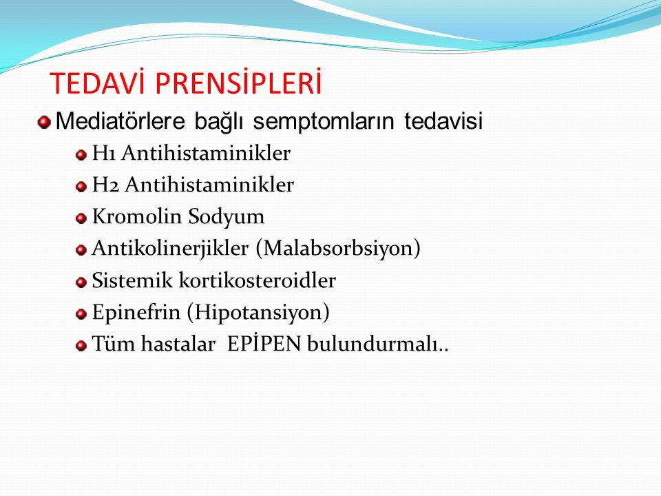 TEDAVİ PRENSİPLERİ Mediatörlere bağlı semptomların tedavisi