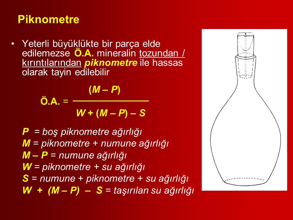 Piknometre Yeterli büyüklükte bir parça elde edilemezse Ö.A. mineralin tozundan / kırıntılarından piknometre ile hassas olarak tayin edilebilir.