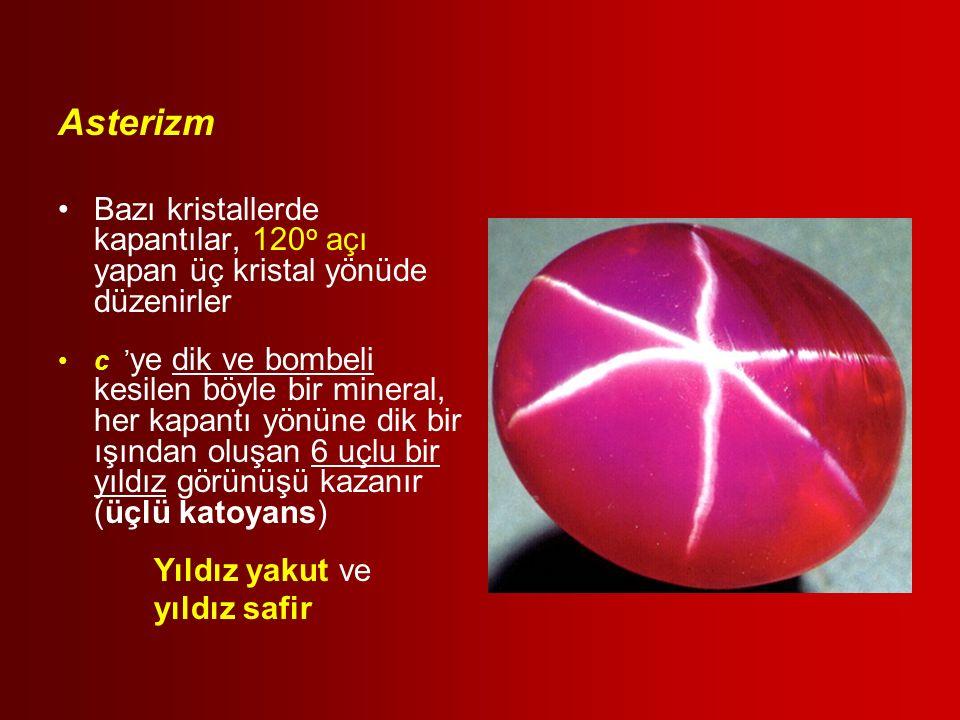 Asterizm Bazı kristallerde kapantılar, 120o açı yapan üç kristal yönüde düzenirler.