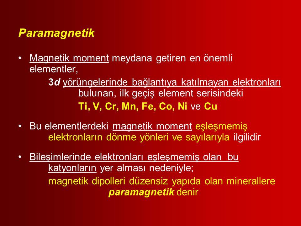 Paramagnetik Magnetik moment meydana getiren en önemli elementler,