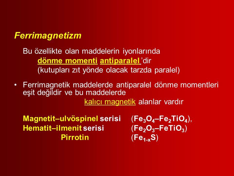 Ferrimagnetizm Bu özellikte olan maddelerin iyonlarında