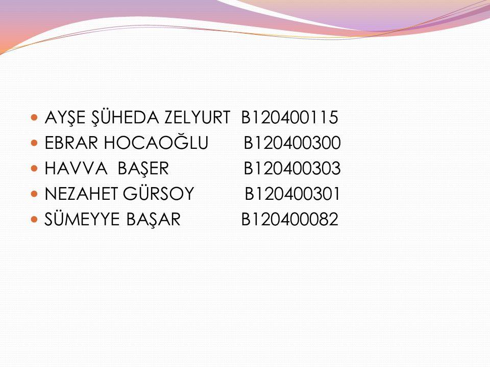 AYŞE ŞÜHEDA ZELYURT B120400115 EBRAR HOCAOĞLU B120400300. HAVVA BAŞER B120400303.