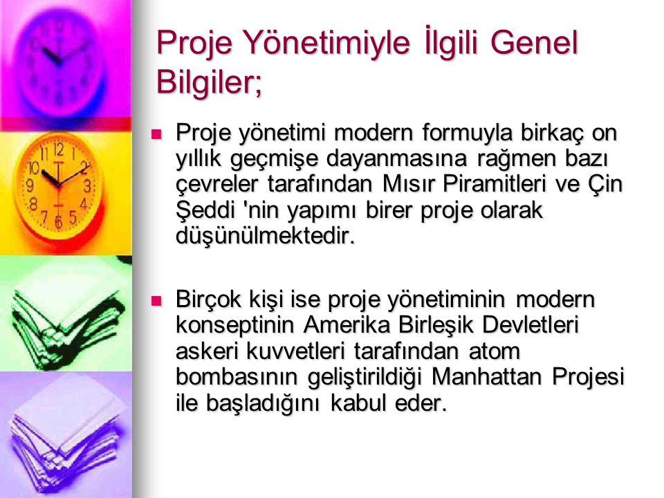 Proje Yönetimiyle İlgili Genel Bilgiler;