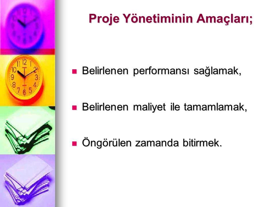 Proje Yönetiminin Amaçları;