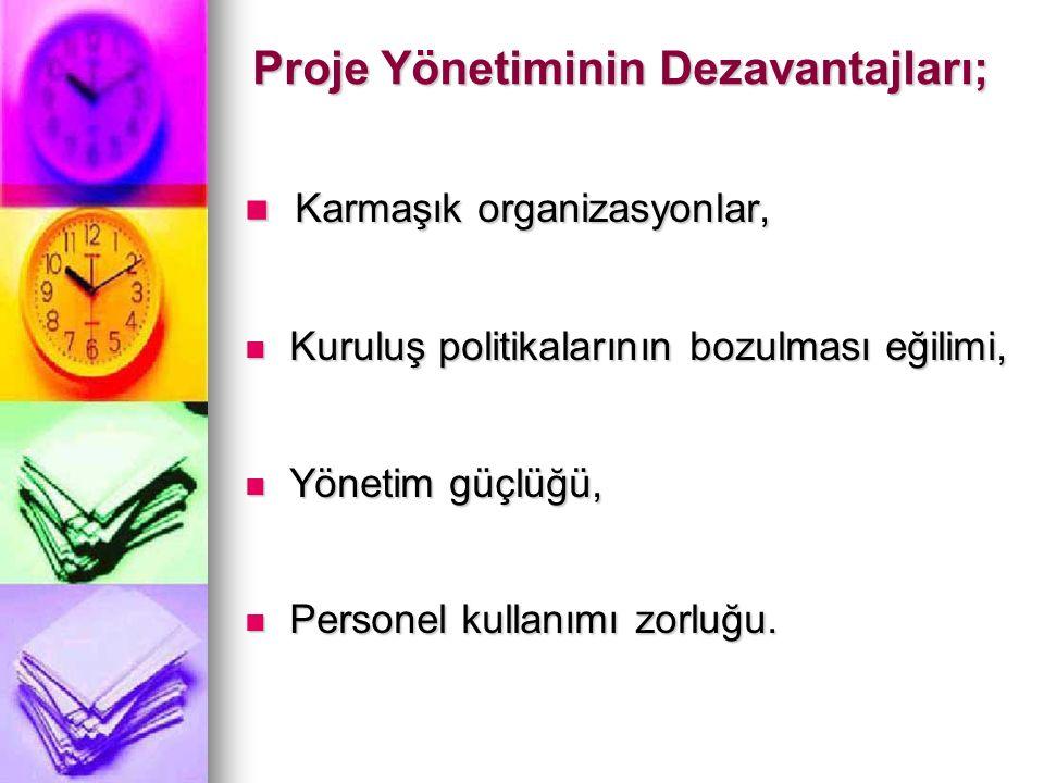 Proje Yönetiminin Dezavantajları;