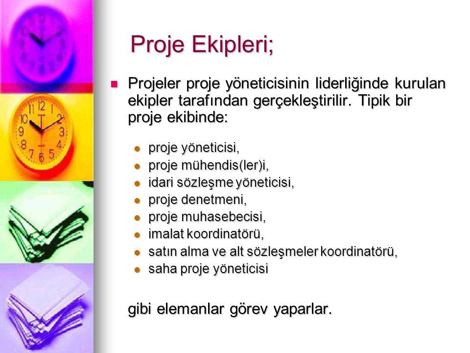 Proje Ekipleri; Projeler proje yöneticisinin liderliğinde kurulan ekipler tarafından gerçekleştirilir. Tipik bir proje ekibinde: