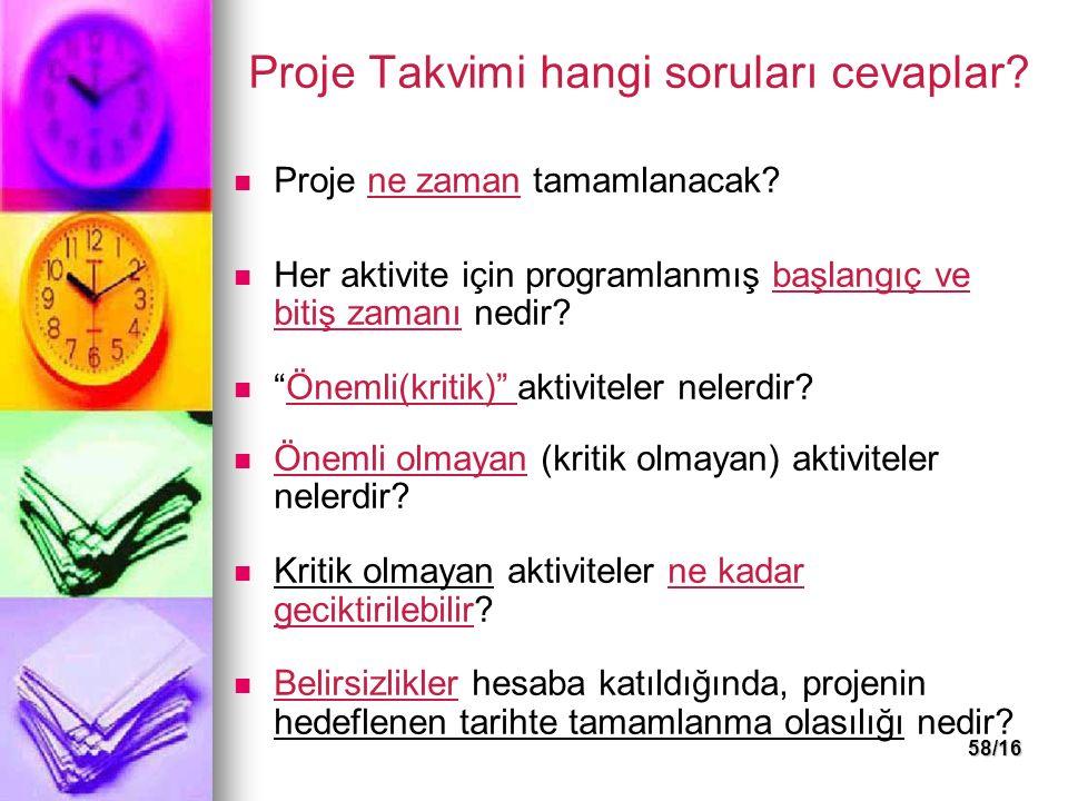 Proje Takvimi hangi soruları cevaplar