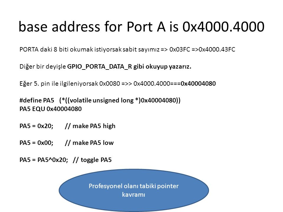 base address for Port A is 0x4000.4000