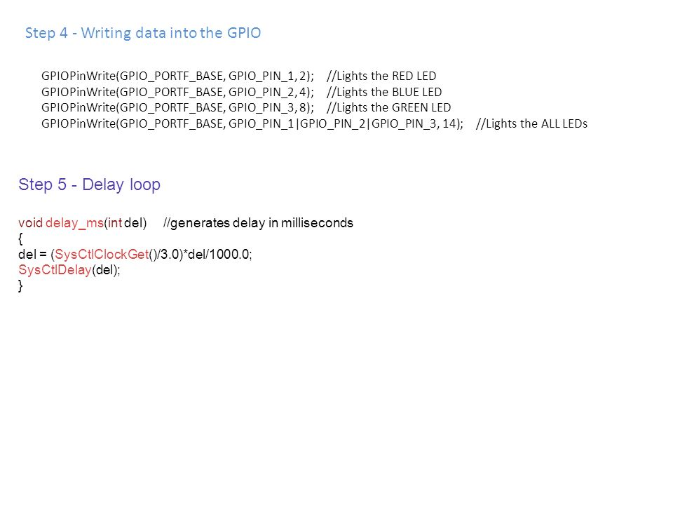 Step 4 - Writing data into the GPIO