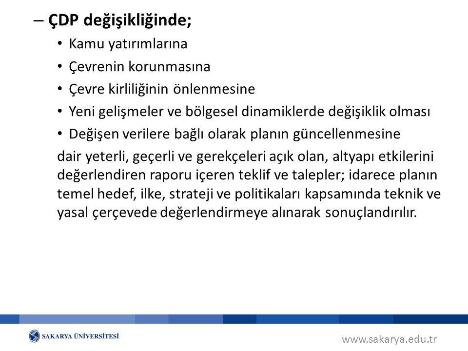 ÇDP değişikliğinde; Kamu yatırımlarına Çevrenin korunmasına