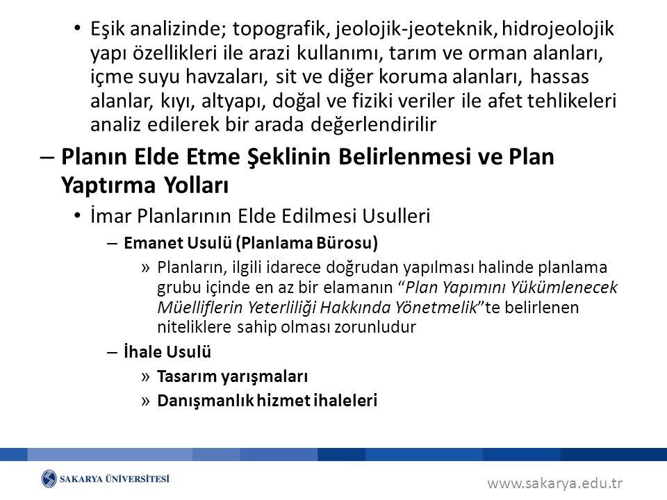 Planın Elde Etme Şeklinin Belirlenmesi ve Plan Yaptırma Yolları
