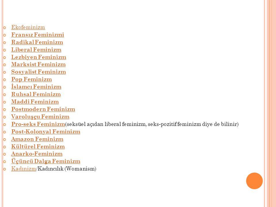 Ekofeminizm Fransız Feminizmi. Radikal Feminizm. Liberal Feminizm. Lezbiyen Feminizm. Marksist Feminizm.