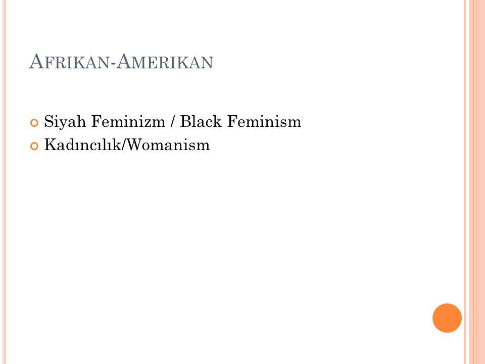 Afrikan-Amerikan Siyah Feminizm / Black Feminism Kadıncılık/Womanism