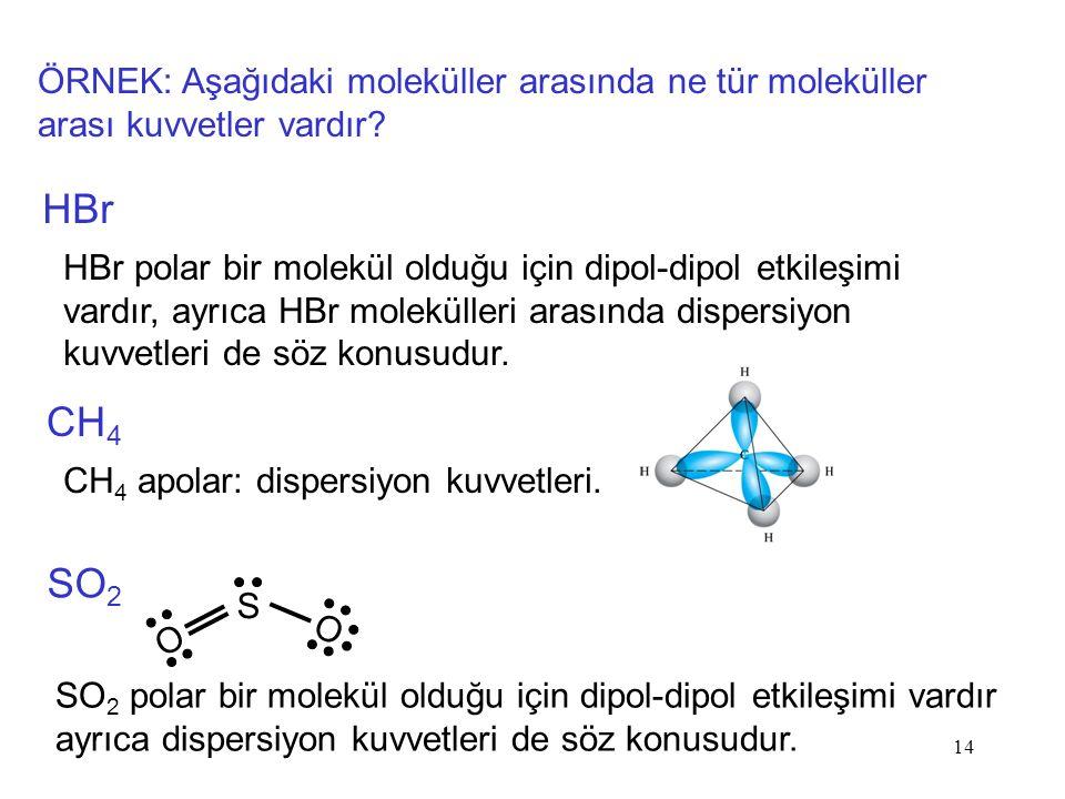 ÖRNEK: Aşağıdaki moleküller arasında ne tür moleküller arası kuvvetler vardır