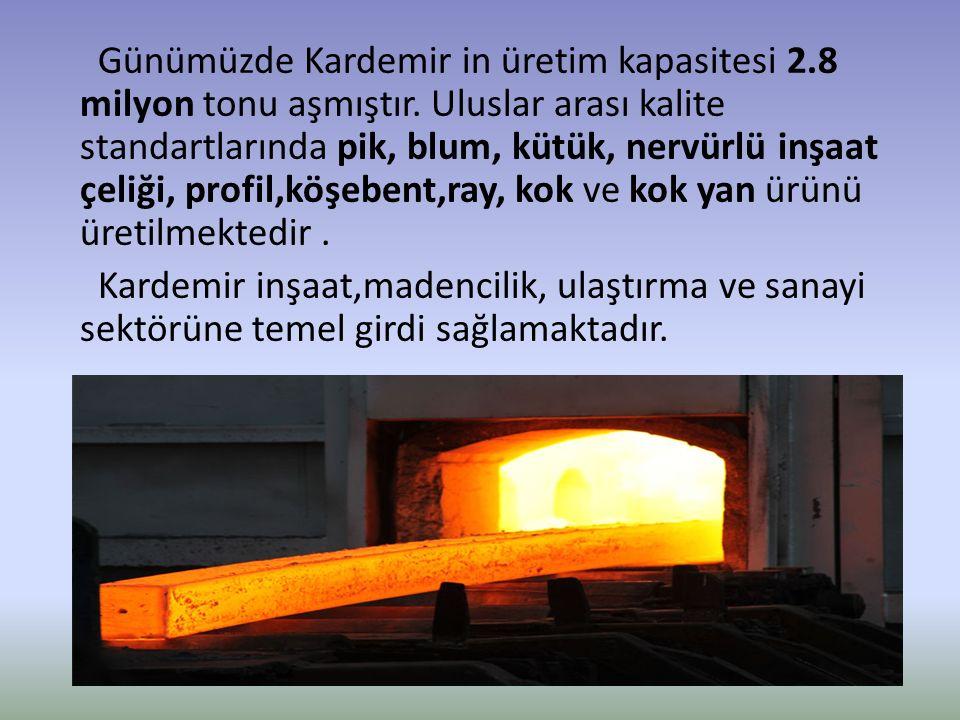 Günümüzde Kardemir in üretim kapasitesi 2. 8 milyon tonu aşmıştır
