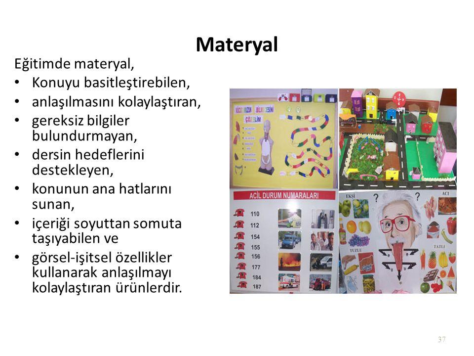 Materyal Eğitimde materyal, Konuyu basitleştirebilen,