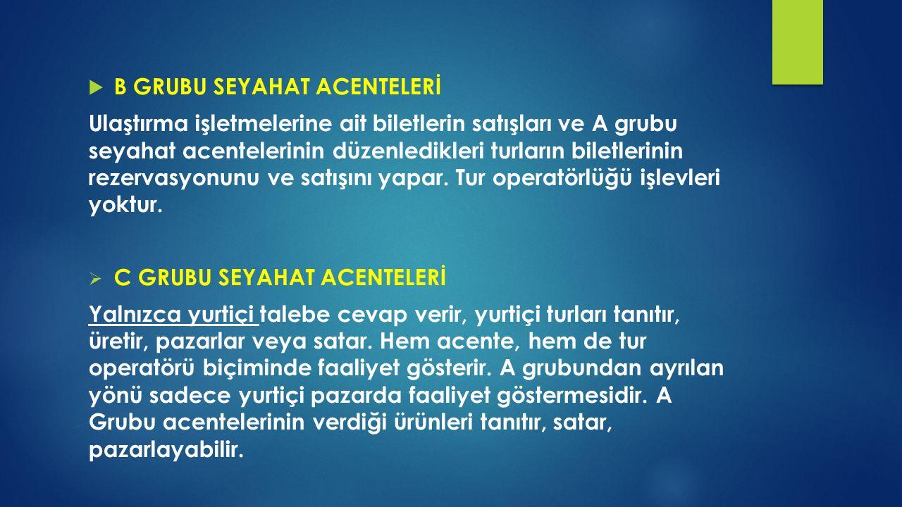 B GRUBU SEYAHAT ACENTELERİ