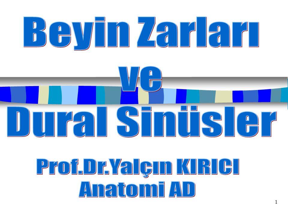 Beyin Zarları ve Dural Sinüsler Prof.Dr.Yalçın KIRICI Anatomi AD 1