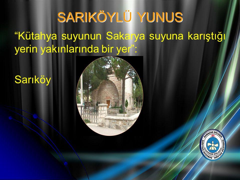 SARIKÖYLÜ YUNUS Kütahya suyunun Sakarya suyuna karıştığı yerin yakınlarında bir yer : Sarıköy