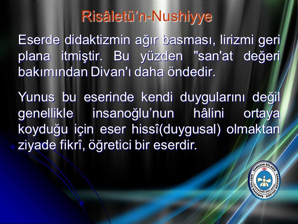 Risâletü'n-Nushiyye Eserde didaktizmin ağır basması, lirizmi geri plana itmiştir. Bu yüzden san at değeri bakımından Divan ı daha öndedir.