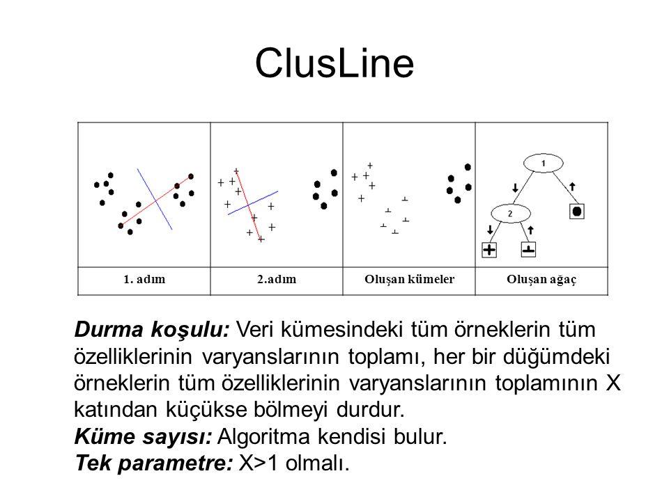 ClusLine 1. adım. 2.adım. Oluşan kümeler. Oluşan ağaç.