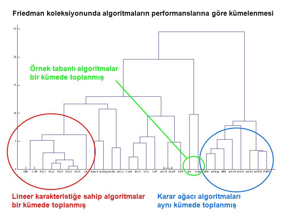 Friedman koleksiyonunda algoritmaların performanslarına göre kümelenmesi