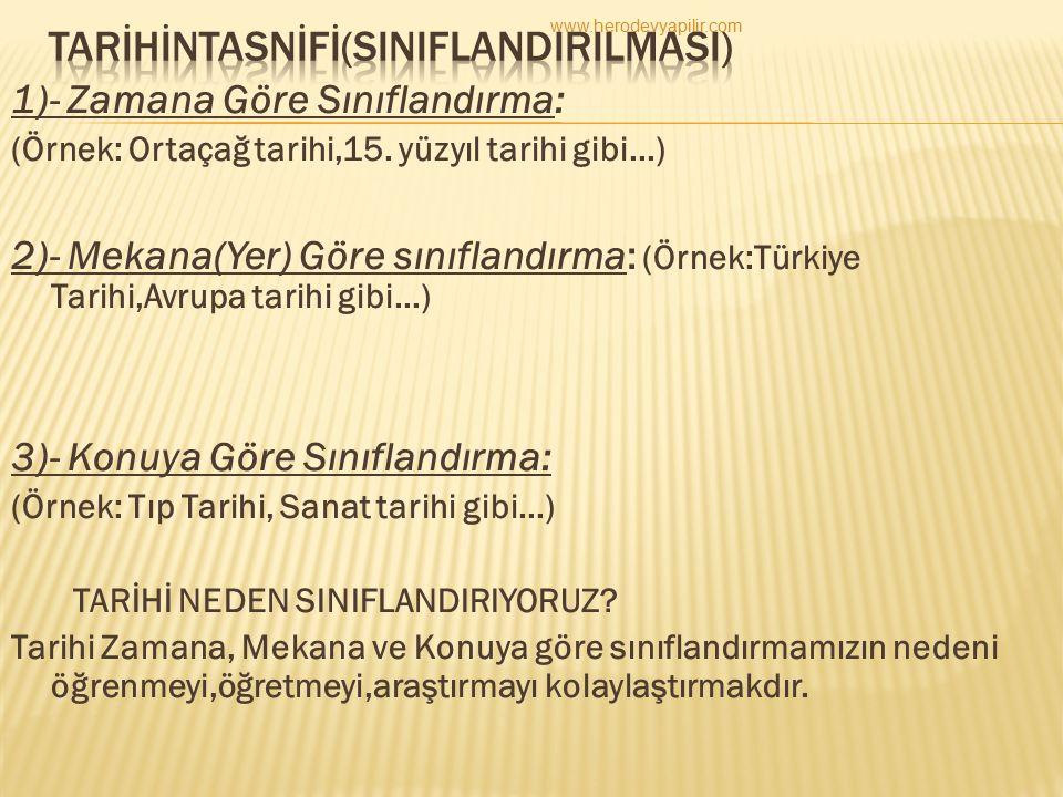TARİHİNTASNİFİ(SINIFLANDIRILMASI)