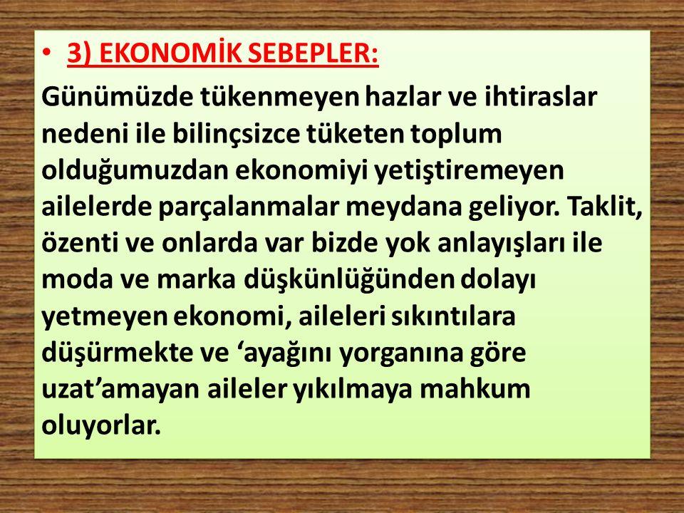 3) EKONOMİK SEBEPLER: