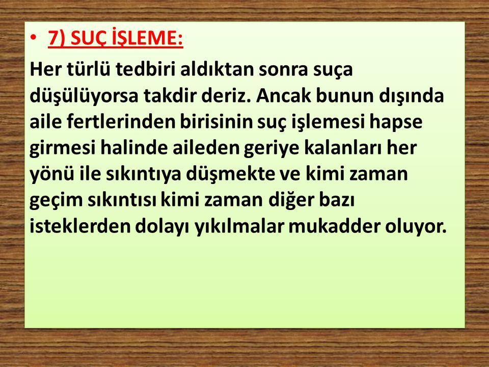 7) SUÇ İŞLEME: