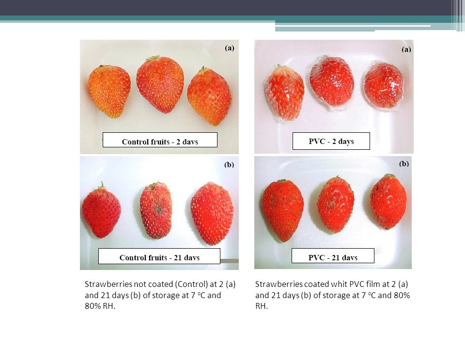 Strawberries not coated (Control) at 2 (a) and 21 days (b) of storage at 7 oC and 80% RH.