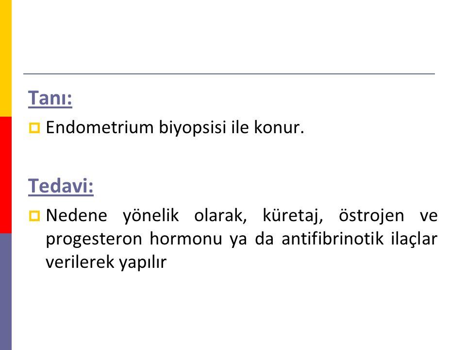 Tanı: Tedavi: Endometrium biyopsisi ile konur.