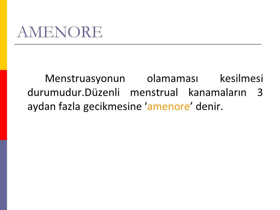 AMENORE Menstruasyonun olamaması kesilmesi durumudur.Düzenli menstrual kanamaların 3 aydan fazla gecikmesine 'amenore' denir.