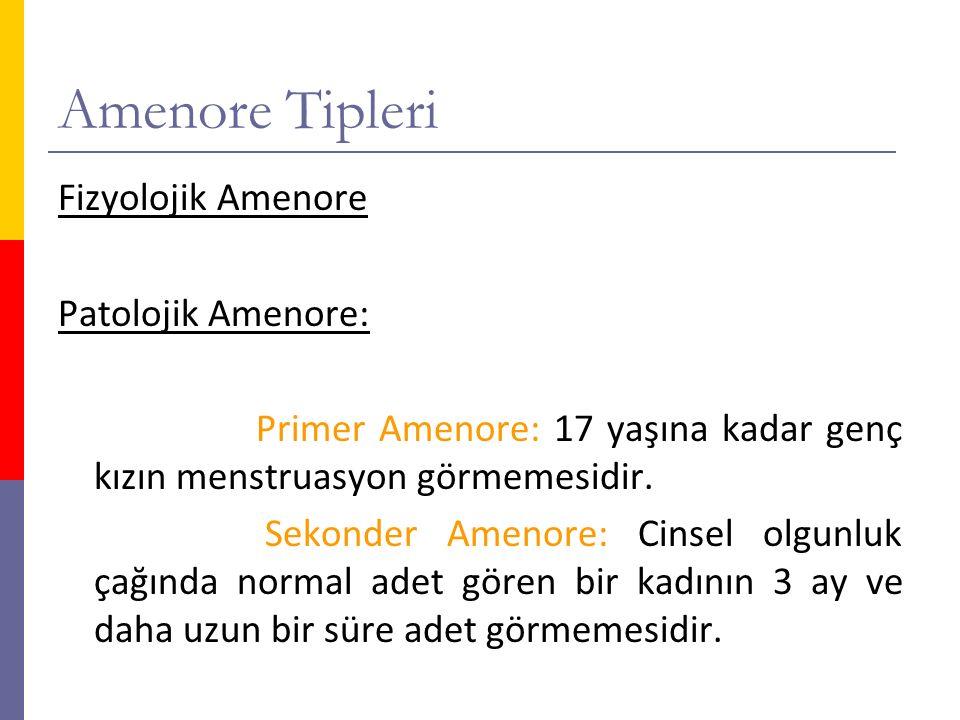 Amenore Tipleri Fizyolojik Amenore Patolojik Amenore: