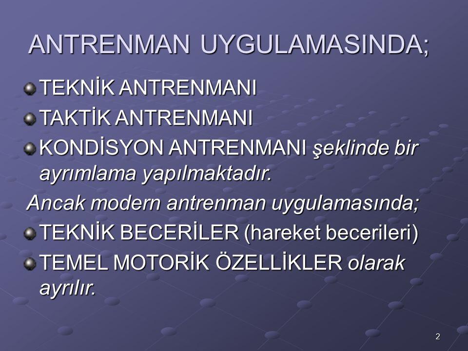 ANTRENMAN UYGULAMASINDA;