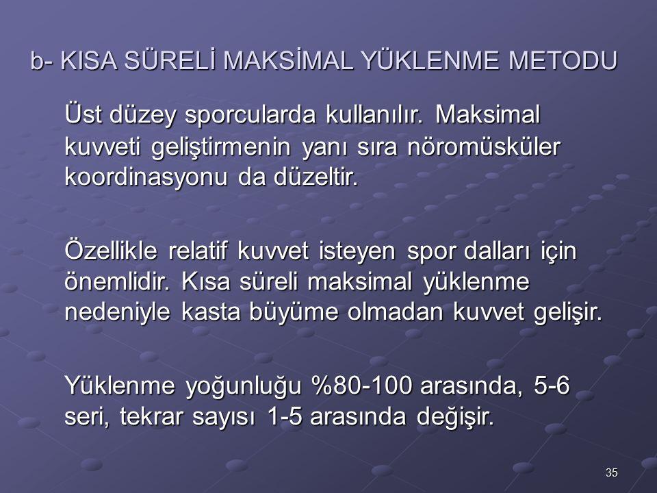 b- KISA SÜRELİ MAKSİMAL YÜKLENME METODU