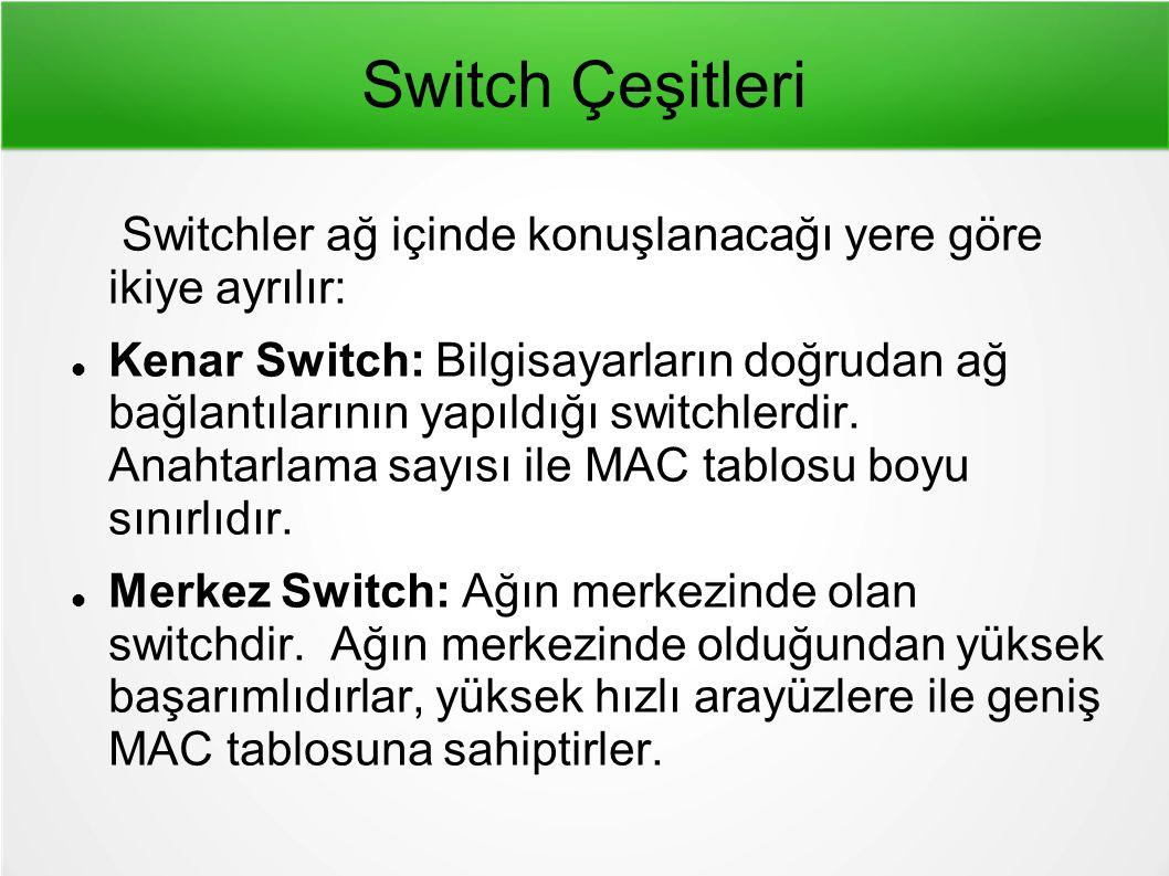 Switch Çeşitleri Switchler ağ içinde konuşlanacağı yere göre ikiye ayrılır:
