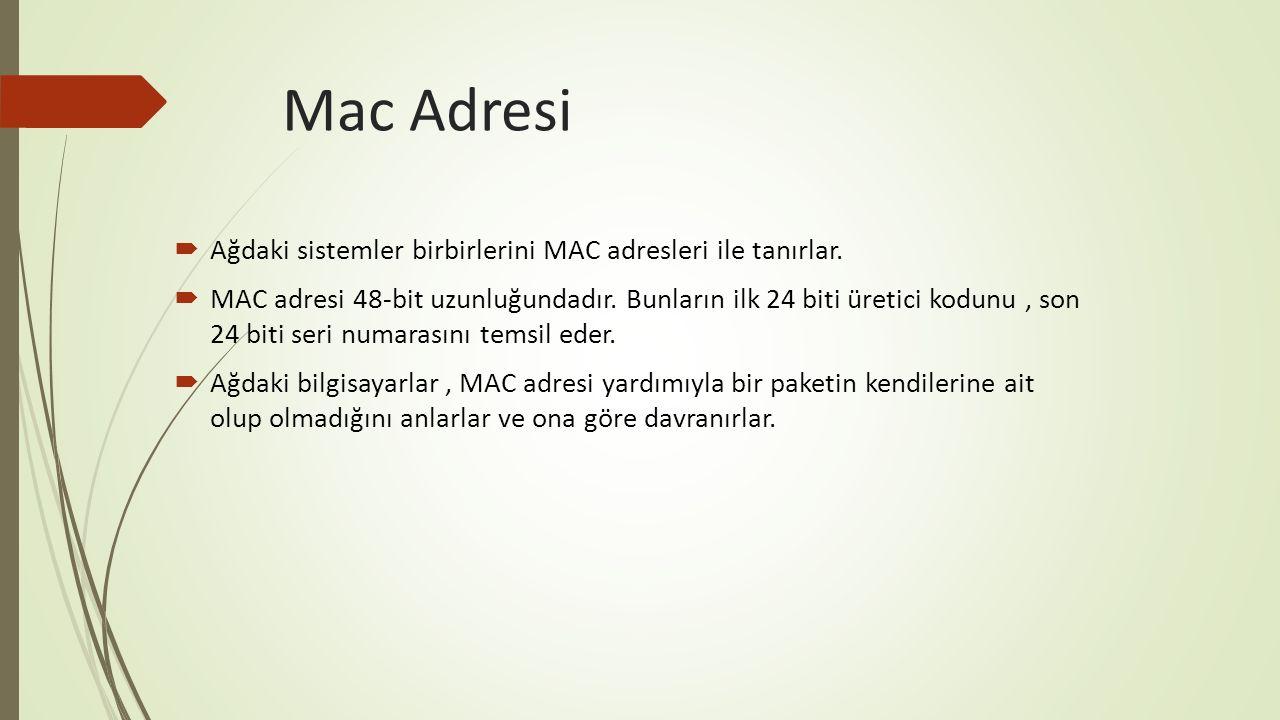 Mac Adresi Ağdaki sistemler birbirlerini MAC adresleri ile tanırlar.