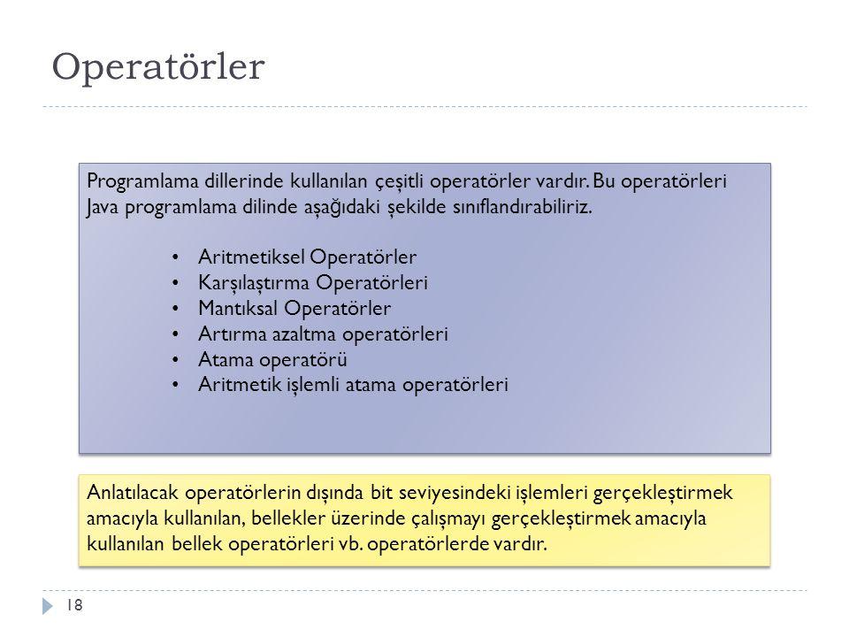 Operatör çeşitlerini bilir