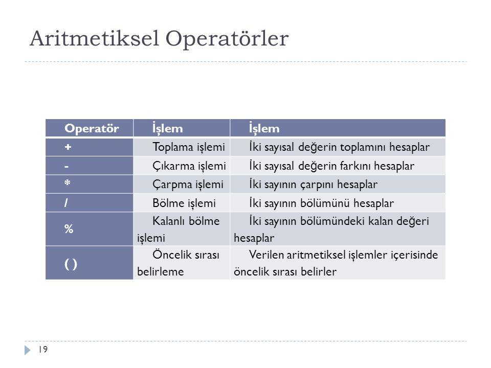 Aritmetiksel Operatörler