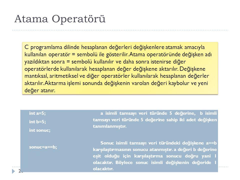 Atama Operatörü