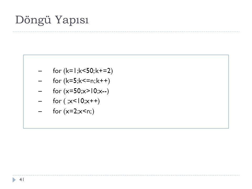 Döngü Yapısı for (k=1;k<50; k+=2) for (k=5;k<=n; k++)