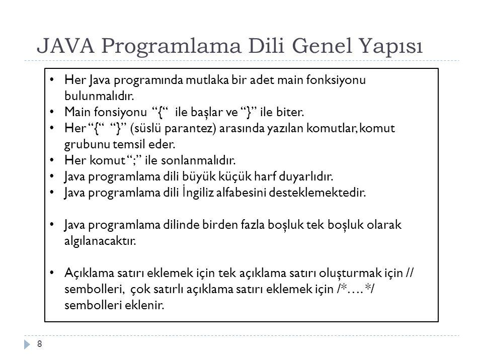 JAVA Programlama Dili Genel Yapısı