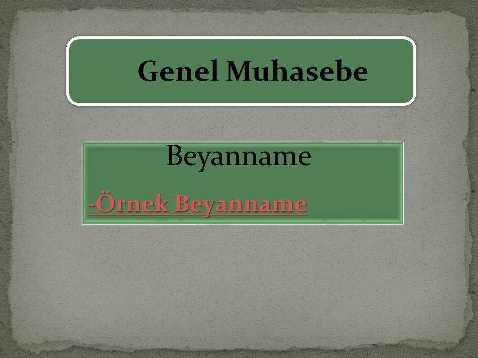 Genel Muhasebe Beyanname -Örnek Beyanname