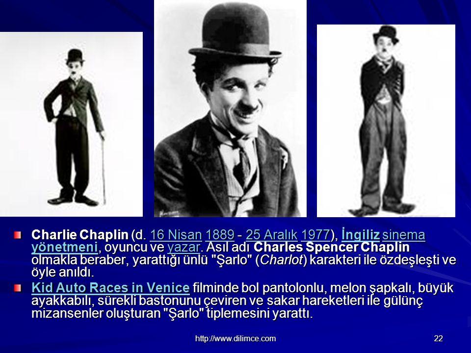 Charlie Chaplin (d. 16 Nisan 1889 - 25 Aralık 1977), İngiliz sinema yönetmeni, oyuncu ve yazar. Asıl adı Charles Spencer Chaplin olmakla beraber, yarattığı ünlü Şarlo (Charlot) karakteri ile özdeşleşti ve öyle anıldı.