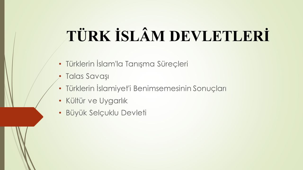 TÜRK İSLÂM DEVLETLERİ Türklerin İslam la Tanışma Süreçleri