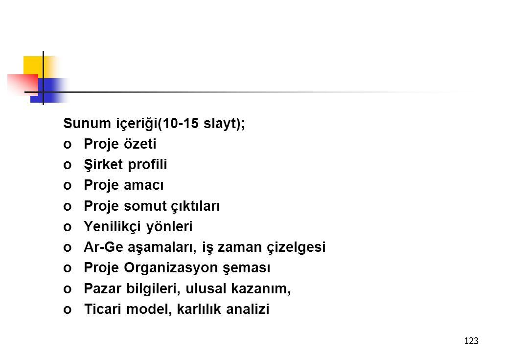 Sunum içeriği(10-15 slayt);
