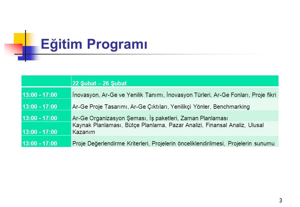 Eğitim Programı 22 Şubat – 26 Şubat 13:00 - 17:00